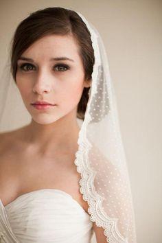 lace elbow length veil | Dotted Lace Veil, Mantilla Veil, Elbow Length Veil…