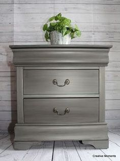 Fusion s brushed steel nightstand Fusion s brushed steel nightstand Ashley Reeves Painted furniture This super sleek tall nightstand called out for Fusion Mineral metallic nbsp hellip furniture makeover Bedroom Furniture Makeover, Painted Bedroom Furniture, Chalk Paint Furniture, Refurbished Furniture, Farmhouse Furniture, Repurposed Furniture, Furniture Projects, Furniture Decor, Modern Furniture