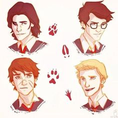the marauders Moony Wormtail Padfoot Prongs