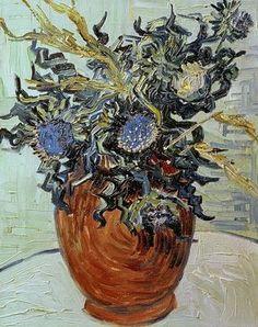 Vase with Flower and Thistles. Vincent van Gogh Pola Museum of Art, Hakone. 1890. 41.0 x 34.0 cm. #art #artists #vangogh