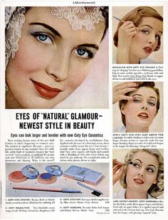 I adore vintage cosmetics ads like this one from Coty that guide you through the steps used to achieve vintage make-up looks.
