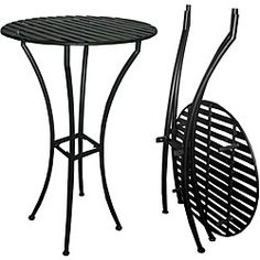 @Overstock - This sturdy, handmade wrought iron bar table breaks down easily for portability and space saving off-season storagehttp://www.overstock.com/Home-Garden/Easy-to-Assemble-Iron-Bar-Table-Black/5473662/product.html?CID=214117 $112.99