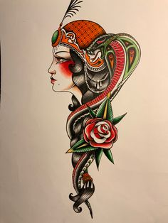 Traditional Tattoo Old School, Traditional Tattoo Design, Mom Tattoos, Tattoos For Women, Snake, Tattoo Designs, Lady, Female Tattoos, A Snake
