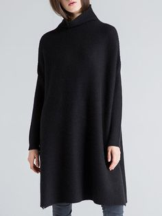 Shop Sweaters - Black Knitted Long Sleeve Turtleneck Sweater online. Discover unique designers fashion at StyleWe.com.