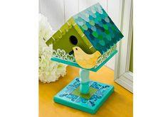 Mod Podge Paint Chip Birdhouse - love these colors!