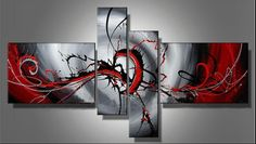 100% Hand-painted Classic Black & Red Modern Abstract Oil Painting on Canvas 4 sets/design