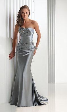 Mermaid Gray Taffeta Sparkle Sequins Bodice Pleated Strapless Flirt P1439 Prom Dresses/ Formal Gown/ Evening Dress P288184