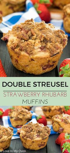 Bakery-style jumbo muffins packed with strawberries, rhubarb and 2 layers of streusel. They're dense, filling and oh, so delightful. via @loveinmyoven
