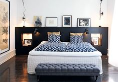 The Nordroom - Creative Headboard and Bedroom Styling Ideas (photography by Pia Enghild) Attic Apartment, Attic Rooms, Attic Spaces, Attic Bathroom, Attic Playroom, Bathroom Marble, Dream Bedroom, Bedroom Wall, Bedroom Decor