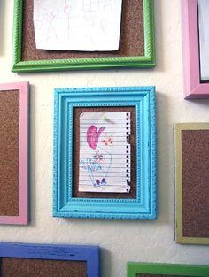frames with cork..cute idea for kids artwork (even in kids bedroom).