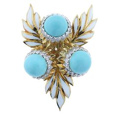 Montclair Enamel Turquoise Diamond Gold Floral Brooch | From a unique collection of vintage brooches at https://www.1stdibs.com/jewelry/brooches/brooches/