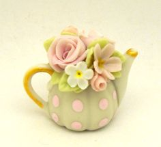 1/12TH scale romantic chic floral teapot in pink color by 64tnt