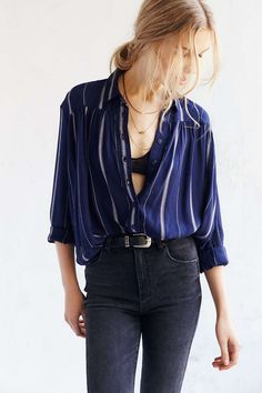size small, navy BDG Melanie Button-Down Shirt