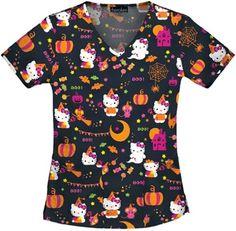 Hello Kitty Halloween Scrubs by Cherokee Tooniforms Kids Scrubs, Vet Scrubs, Medical Scrubs, Disney Scrub Tops, Disney Scrubs, Cute Nursing Scrubs, Halloween Scrubs, Hello Kitty Halloween, Scrubs Uniform