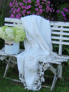 A shabby bench and linen
