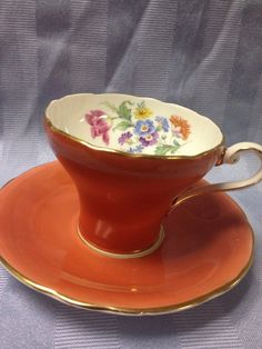 Vintage AYNSLEY C332 Orange Corset teacup by DiamondBranchJewelry