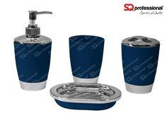 4-piece Bathroom Set - DARK BLUE: liquid soap dispenser, soap tray, toothbrush holder, tumbler, #toilet #WC #darkblue #blue #sqprofessional
