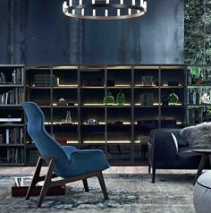 Blue armchair, walls - poliform