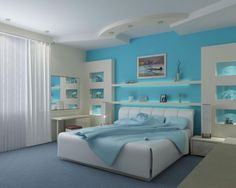 Bedroom : Beach Theme Bedroom Interior Monumental Inspired Turquoise Wall Color Blue Quilt Floating Wall Shelves Chest Of Drawer One Chair Blue Rug White Curtain Two Table Lamps Recessed Ceiling Lamp Other Beach Impressive Stunning Beach Theme Bedroom Ideas Beach Theme Bedroom Ideas. Beach Bedroom Theme. Bedroom Themed Ideas.