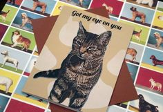 Inside reads: And I Know a Godd Catch When I see One! Got My Eye On You Card by SentWell on Etsy, $2.50