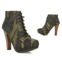 New Qupid Women High Heel Lace Up Platform Ankle Bootie Boot PUFFIN-06 CAMOUFLAG #Qupid #FashionAnkle