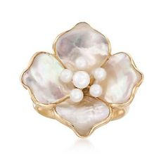 Ross-Simons - Mother-Of-Pearl and Cultured Pearl Flower Ring in Yellow Gold - Mother Of Pearl Jewelry, Mother Pearl, Gold Jewelry, Jewelry Rings, Jewellery, Flower Jewelry, Yellow Gold Rings, Gold Gold, Pearl Flower