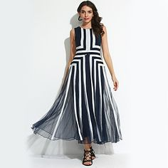 Women's/party/cocktail+that+kind+of+Bohemian+shift/lace+DressStriped+round+collar+summer+maxi+blue+sleeveless+nylon+–+USD+$+29.99