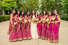 Indian Bridal Party Bridesmaid Dresses Saris 36 New Ideas Indian Wedding Bridesmaids, Indian Bridesmaid Dresses, Bridesmaid Saree, Bridesmaid Outfit, Indian Dresses, Wedding Dresses, Bridesmaid Ideas, Wedding Bouquet, Desi Wedding