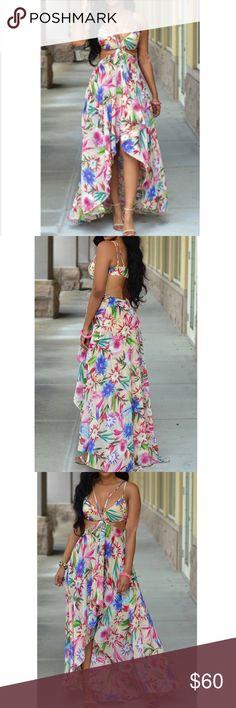 Floral Knee Length Dress Bohemian V Neck Off The Shoulder Sleeveless Printed Asymmetrical White Polyester Knee Length Dress Dresses High Low