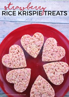 Make these strawberry Valentine Rice Krispie treats for your next Valentine's Day party! Such a fun take on an old classic - yum!