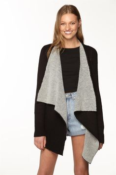 Two Tone Cosy Cardi | Supre | BLACK/GREY Cute Cardigans, Sweaters, Must Have Items, Cosy, Layering, Long Sleeve Tops, Black And Grey, Waterfall, Super Cute
