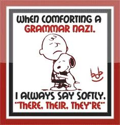 """When comforting an grammar Nazi, I always say softly, """"There, their, they're."""" [my11.14]"""