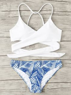 895ab63461 SHEIN Crisscross Tropical Print Bikini Set. This tropical print bikini set  is perfect for the