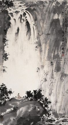 'Waterfall from the cloud' Fu Baoshi, or Fu Pao-Shih, was a Chinese painter from Xinyu, Jiangxi Province. He went to Japan to study the History of Ori Asian Landscape, Chinese Landscape Painting, Abstract Landscape, Landscape Paintings, Japan Painting, China Painting, Waterfall Paintings, Art Asiatique, Japanese Artwork