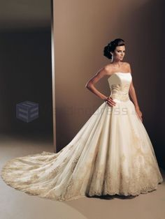 Ball Gown Organza Overlay Bodice Strapless Neckline CaThedral Length Train Wedding Dresses