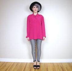 Triple Collar Blouse #pinkblouse #vintage #vintageblouse #etsy #1980s# 80sblouse