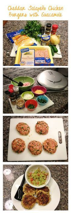 """Cheddar Jalapeno Chicken Burger Recipe - Pinner said, """"our new favorite burger recipe! Also good with Turkey, although the chicken was more moist and juicy. We eat them on buns with pepperjack cheese and mayo or avocado slices. I Love Food, Good Food, Yummy Food, Tasty, New Recipes, Cooking Recipes, Favorite Recipes, Yummy Recipes, Cheese Recipes"""