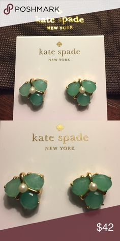 "🎁🆕kate spade Green Crystal Cluster Stud Earrings From kate spade new york, these adorable new stud earrings feature faux pearl; semi-precious stone; 14K gold-plated metal post closure. approx. 0.5"".  Include a Kate Spade drawstring bag. kate spade Jewelry Earrings"