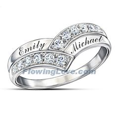 Bask in the glory of a passionate summer of love when you slip into this stunning personalized diamond ring. Whose names will you have engraved across the front? Heart Shaped Promise Rings, Diamond Promise Rings, Diamond Knot, White Topaz Rings, Silver Rings, Silver Jewelry, Relationship Jewelry, Clean Gold Jewelry, Gem Diamonds
