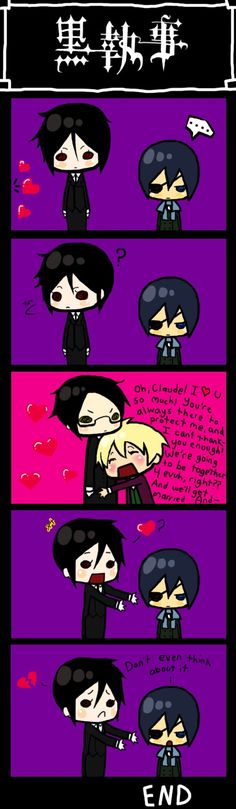 Black Butler poor Sebas-chan... (You know don't make fun of me, but I just figured out yesterday with what it means when people add -chan and the other things to the end of the names.)