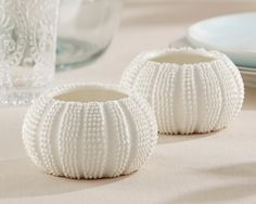 First Avenue Wedding Favors - NEW and beautiful Beach Themed Sea Urchin Tea Light Holder Favor, $10.50 per set of 2, or save a bunch on a bulk order. (http://www.firstavenueweddingfavors.com/beach-themed-tea-light-holder-favor-set-of-2/) #beachthemedweddingfavors