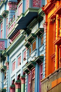 Colorful facades on Gawalmandi historic centre in Lahore, Pakistan