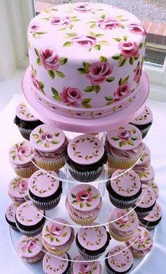 Nevie Pie Cakes ~ are a purveyor of hand-painted cakes. In fact, one of her specialties includes clusters of cupcakes with similar designs. Gorgeous Cakes, Pretty Cakes, Amazing Cakes, Decoration Patisserie, Painted Wedding Cake, Hand Painted Cakes, Occasion Cakes, Wedding Cupcakes, Fancy Cakes