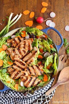 Grilled Asian Pork Tenderloin Salad with Honey-Ginger Vinaigrette from afarmgirlsdabbles.com