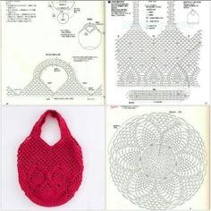 Very nice bag with pineapple pattern - Taschen häkeln - - Bag häkeln nice Pattern pineapple Taschen Gilet Crochet, Free Crochet Bag, Crochet Pouch, Crochet Market Bag, Crochet Cross, Crochet Stitches, Crochet Patterns, Needlepoint Stitches, Crotchet Bags