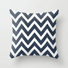 navy chevron Throw Pillow by her art