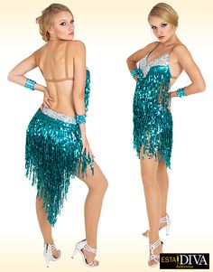 CUSTOM BLACK LATIN SALSA Bead Fringe DIVA DANCE DRESS