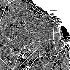 Stock Image from $0.99, Buenos Aires One Color Map #travel #map #monochrome #vector #streets #water #background #black #white #alpha #design #structure