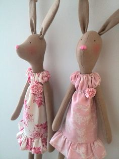Bunny plush Hare mother and child toys by HandmadeToyStore on Etsy