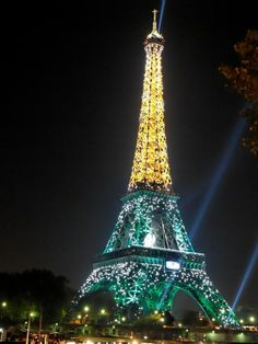 Eiffel Tower Glowing with Light